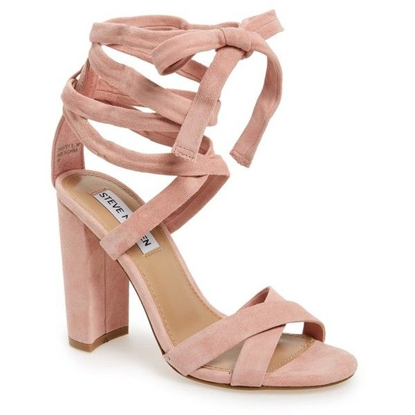 Women's Steve Madden 'Christey' Wraparound Ankle Tie Sandal (£90) ❤ liked on Polyvore featuring shoes, sandals, heels, light pink, suede shoes, ankle wrap sandals, light pink sandals, steve-madden shoes and ankle strap shoes