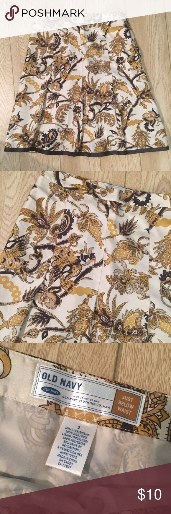 Silk Brown Gold Tan Print Skirt This skirt has a classic, fancy print. In great condition! Old Navy Skirts