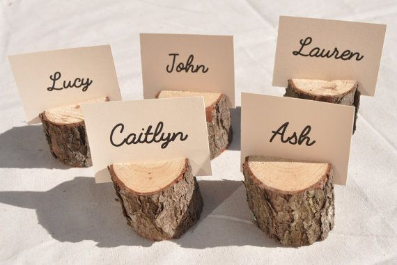 20 Wood Place Card Holders, rustic place card holders with bark for rustic wedding decor table supplies