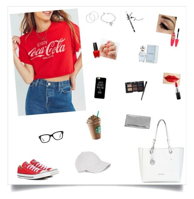 """""""Untitled #217"""" by leah-taliaferro on Polyvore featuring Junk Food Clothing, Converse, Michael Kors, SoGloss, OPI, Melissa Odabash, MAC Cosmetics, Maybelline, Rimmel and West Coast Jewelry"""