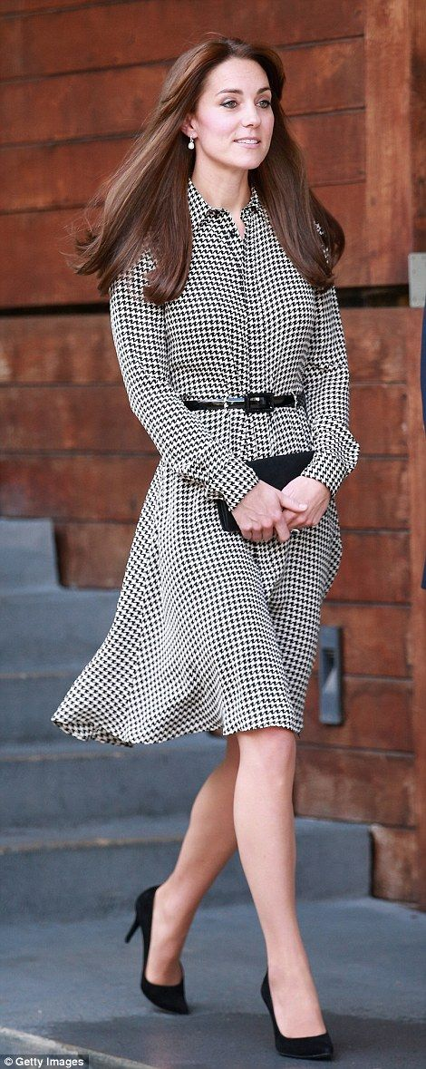 Looking trim and chic in the £1,245 Ralph Lauren shirtdress, Kate showed off her toned legs as she spent the morning at the centre in London on her first official duty since welcoming Princess Charlotte