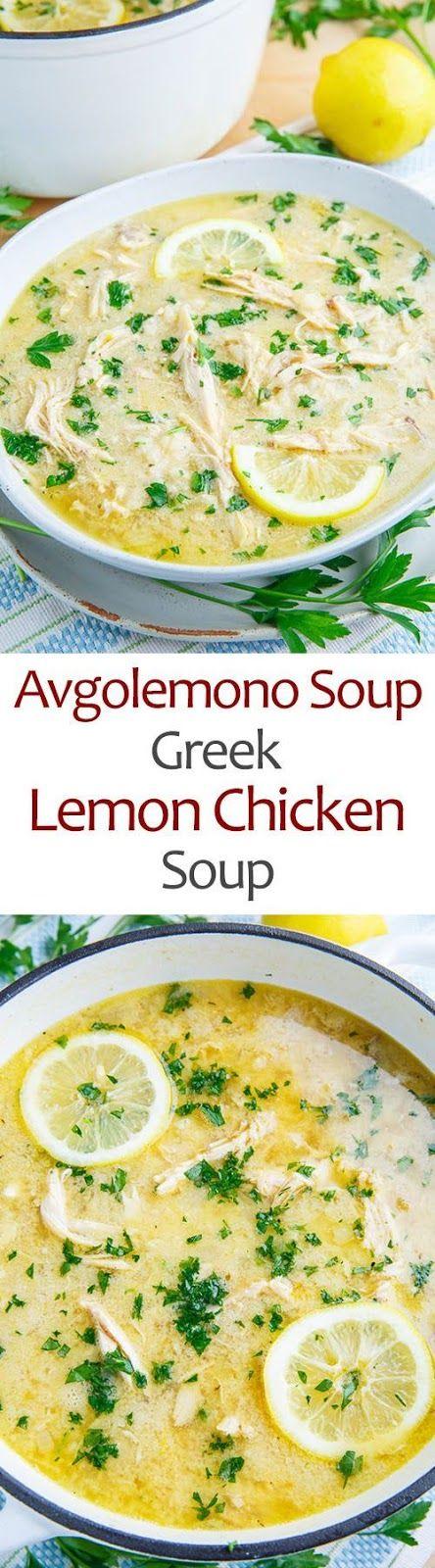 Avgolemono Soup (aka Greek Lemon Chicken Soup) #soup
