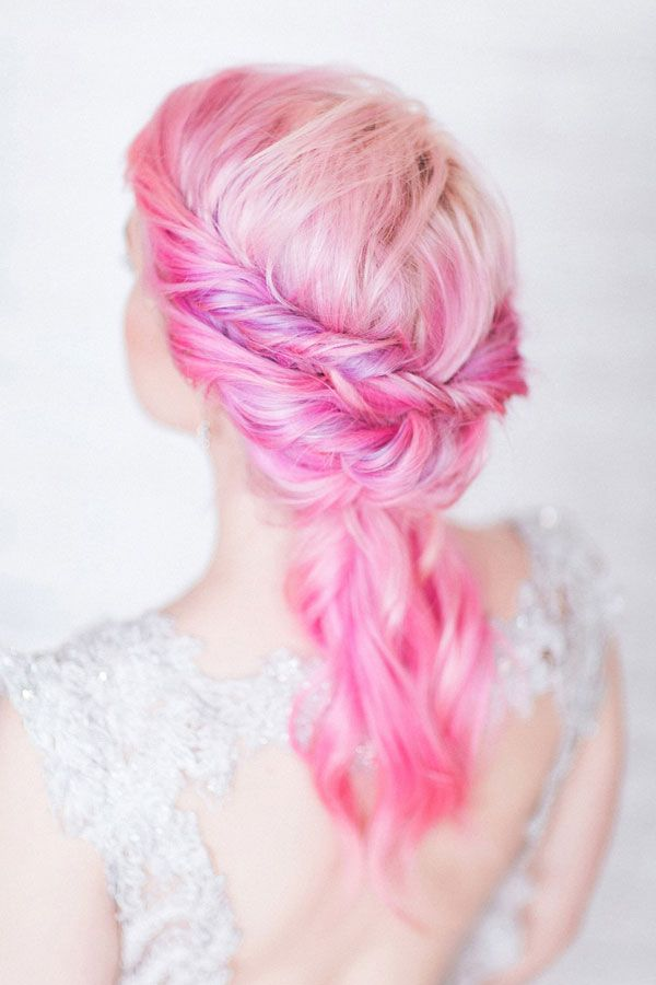 Alternative Wedding Hair Inspiration | Pink Hair | photo by Sanshine Photography