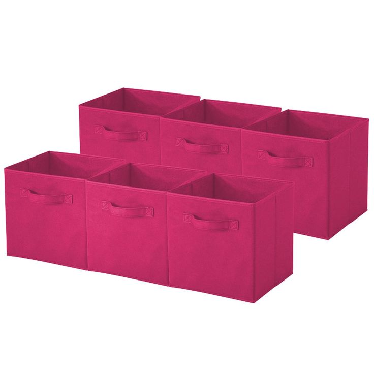 Pink Collapsible Storage Cube (Pack of 6) (Pink Collapsible Storage Cube-Pack of 6) (Fabric)