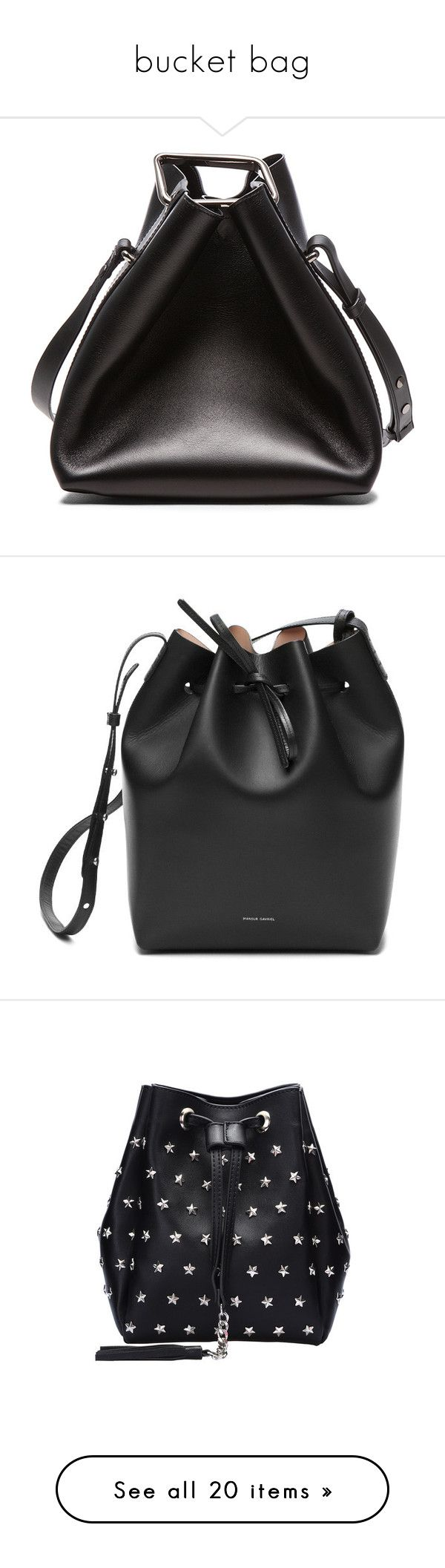 """bucket bag"" by val-valeriya ❤ liked on Polyvore featuring bags, handbags, shoulder bags, leather bucket bag, genuine leather handbags, shoulder handbags, mini shoulder bag, leather handbags, purses and handbags shoulder bags"