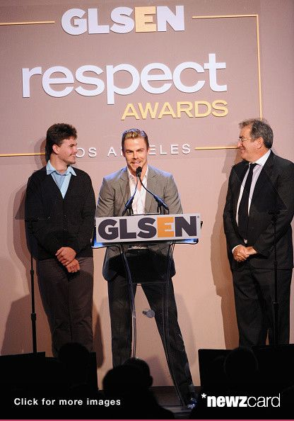(L-R) Student Ambassador of GLSEN Peter Finucane, GLSEN Respect Inspiration Award recipient Derek Hough and director Kenny Ortega speak onstage during the 10th annual GLSEN Respect Awards at the Regent Beverly Wilshire Hotel on October 17, 2014 in Beverly Hills, California.  (Photo by Jonathan Leibson/Getty Images for GLSEN Respect Awards-Los Angeles)