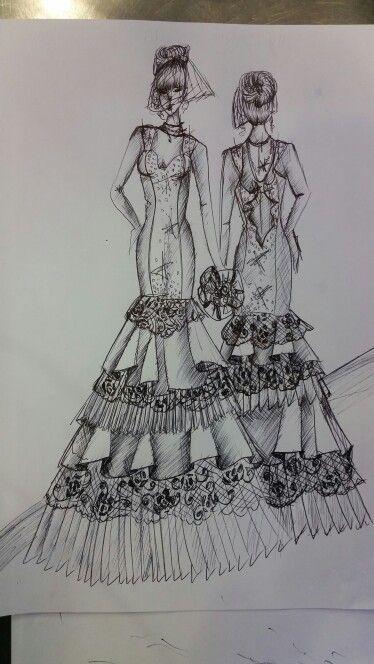 Schizzo di un abito da sposa dalla linea a sirena  e con la gonna creata da un alternanza di balze, pieghe e pizzo. Tutto arricchito da una cascata di luccicante