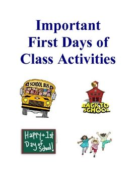 Important First Days of School Activities are designed to help teachers with fun activities to start that most important first day of class on the ...