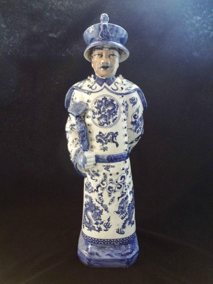 Vintage Chinese Emperor Statue Blue Amp White Porcelain