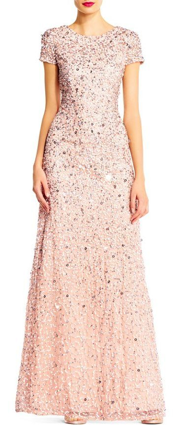 short sleeve sequin mesh gown by Adrianna Papell. Sparkling embellishments swirl around this wildly flattering short-sleeve gown that flares toward the trailing fishtail hem. Style Name: Adrianna Papell Short Sleeve Sequin Mesh Gown (Regular & Petite). Style Number: 578558. Available in... #adriannapapell #dresses #gowns