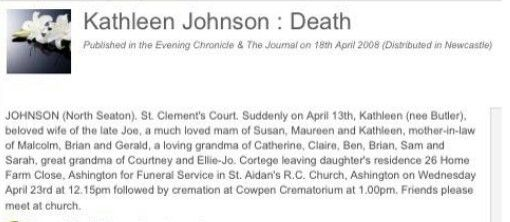 Death notice Kathleen Johnson
