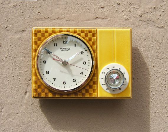 50s kitchen clock wall clock with cooking alarm clock dugena electric made in. beautiful ideas. Home Design Ideas