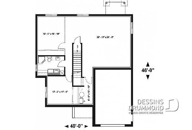 Sous Sol Du Plan De Maison Unifamiliale W3289 Basement Playroom Basement Remodeling Basement Workshop
