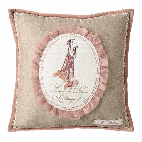 Coussin en coton beige/rose 40 x 40 cm BALLERINE