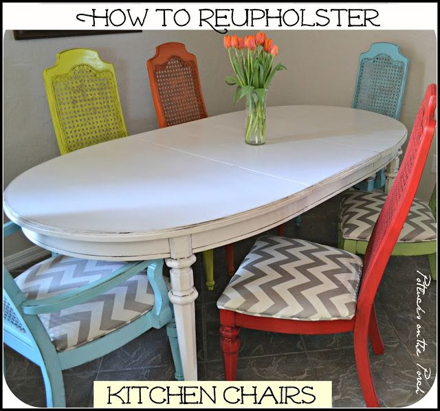 Potlucks on the Porch: How to Reupholster Kitchen Chairs {with Optional Piping}