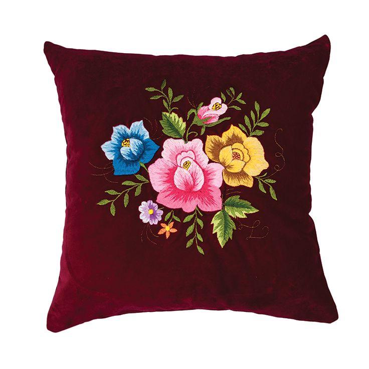 Bordowa poduszka haft łowicki 35x35 cm kolorowe róże