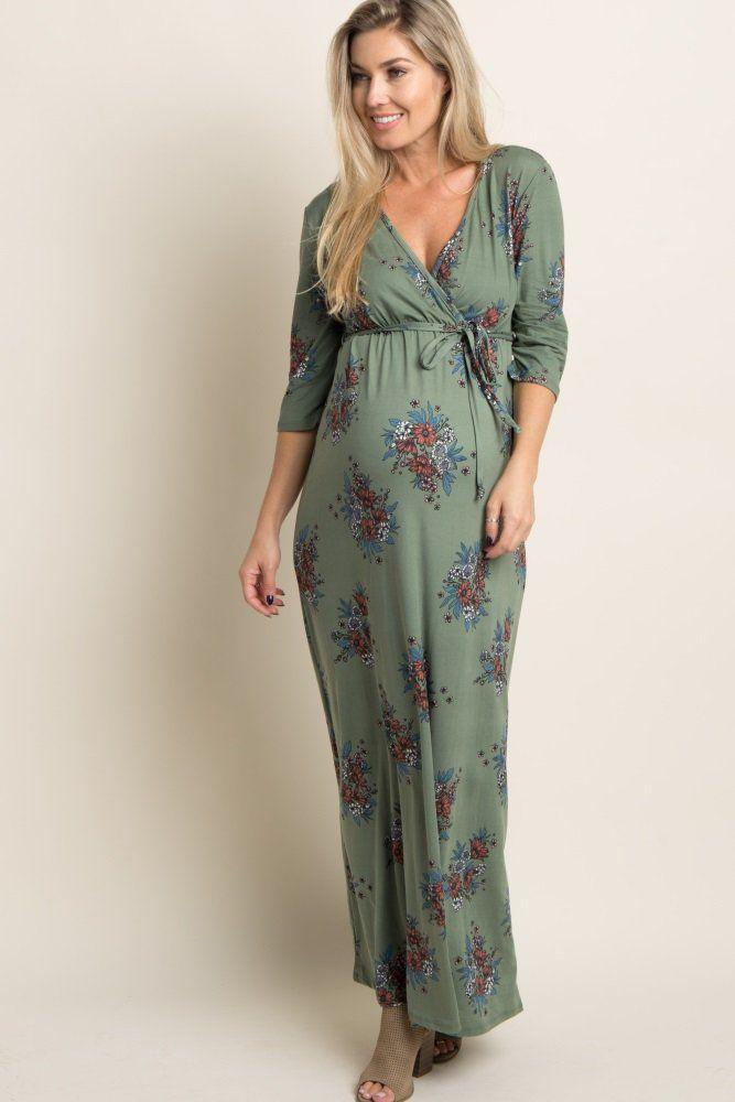 627e59eb307 Olive Green Floral Sash Tie Maternity Nursing Maxi Dress