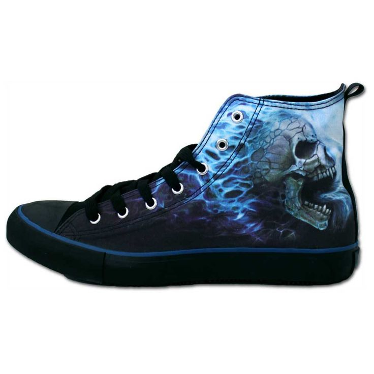 Flaming Spine, gothic fantasy metal schedel dames sneakers gympen zwart/blauw