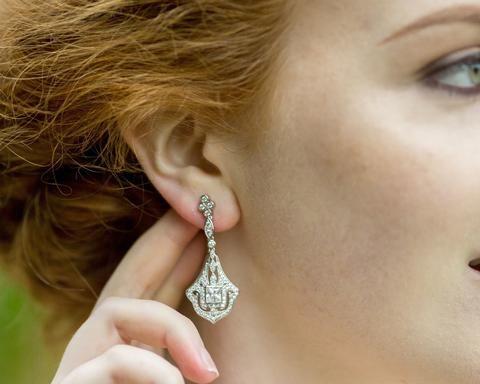 Wedding Earrings - New In Drop Filigree And Crystal Earrings, Vicky