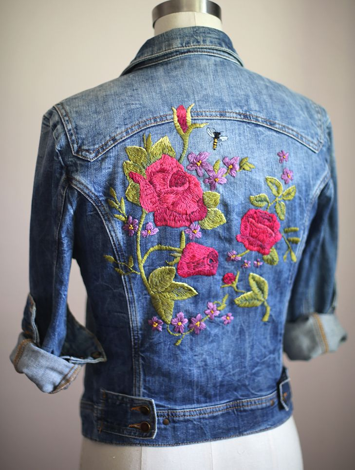 Embroidered Denim, Floral Embroidery, Inspired by Gucci Garden, Embroidered Jean…