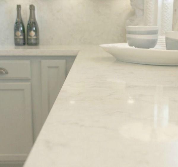 Viatera Minuet Quartz Counters Calacatta Gold Marble Accent Wall