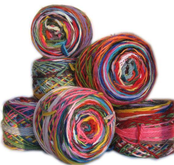 combine yarn scraps into new balls of color