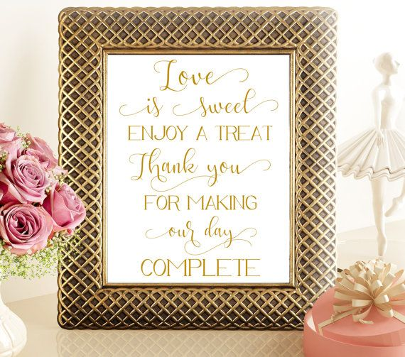 70% SALE Love is sweet gold printable by PrintableMemoriesCo