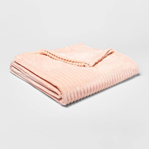 Ribbed Plush Bed Blanket Room Essentials In 2020 Room Essentials Bed Blanket Pink Room
