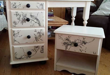 Restyled classy chic dressing table and bedside unit