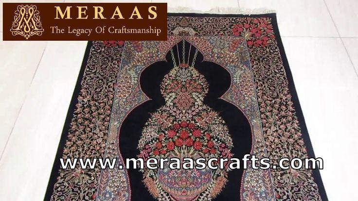 Persian hand knotted handmade Kashmir silk carpet …