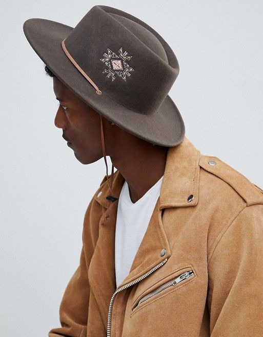 80de80d0c20 ASOS DESIGN pork pie hat with wide brim with embroidery and strap detail