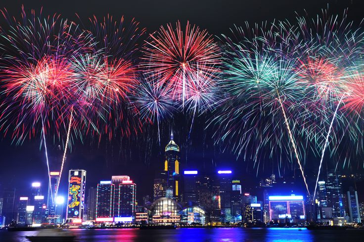 Hong Kong Fireworks New Year's Eve