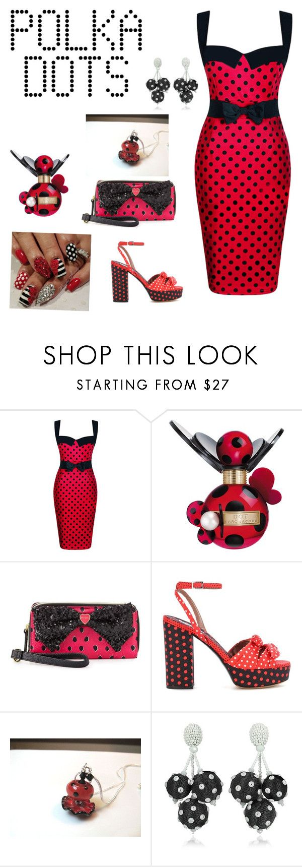 """Dots"" by mel-box ❤ liked on Polyvore featuring WithChic, Marc Jacobs, Betsey Johnson, Tabitha Simmons and Oscar de la Renta"
