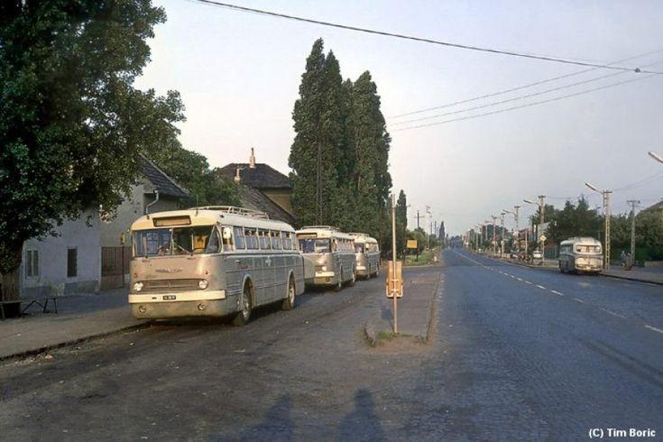 1960-as évek, Béke tér, napnyugta idején. Jobb oldalon az Üllői út.A napjainkban készült képhez képest alig felfedezhető a változás. Leszámítva a járműveket. A farmotoros Ikarus 66-osok a belterületen nem váltak be igazán. Ezért aztán helyközi járatok letek belőlük. Minden jel erre utal: A kerekek nyomai a városbólkifelé irányulnak...A távolodó egyed is. A tetőcsomagtartóról már nem is beszélve.Az útburkolat még kis kockakő...Így, utólag, visszaemlékezve egy kicsit furcsa, hogy a fém…