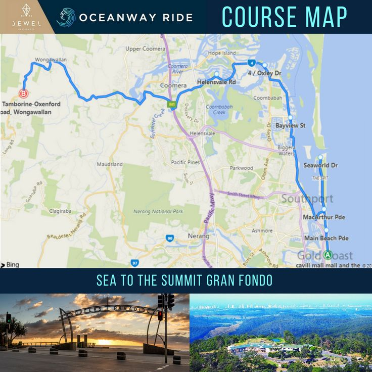 We have the final course map for the Sea to the Summit Gran Fondo for the Jewel Residences Oceanway Ride. A slight change has been made which brings the course to 102km. Surfers Paradise to Eagle Heights Resort and back.