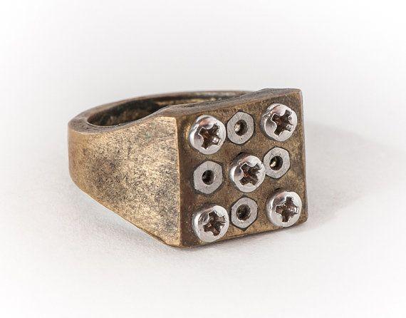 Brass Signet ring-Industrial Ring-Steampunk Ring-Ring by galbarash