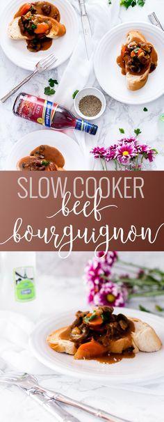 Slow Cooker Beef Bourguignon | homemade beef bourguignon | how to make beef bourguignon | easy beef bourguignon | homemade beed recipes | easy dinner recipes | slow cooker dinner recipes || Oh So Delicioso #beefbourguignon #slowcookerdinner