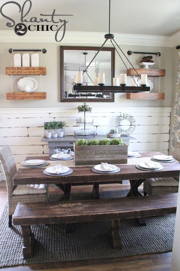 Dining Room Decor Ideas Rustic Farmstyle Bench Seating Dark