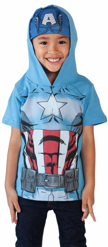 Marvel Captain America Toddler Boys Hoodie T-Shirt with Mask