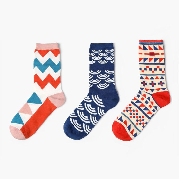 Everybody's gotta have patterns in their lives sometimes. Get yours in this Ultimate Pattern Sock Set of 3 right here and right now! Check out each pair's diverse patterns and vibrant colors that are