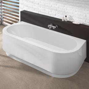 1223.- Hoesch HAPPY D Halbrunde Badewanne mit angeformter Schürze weiß