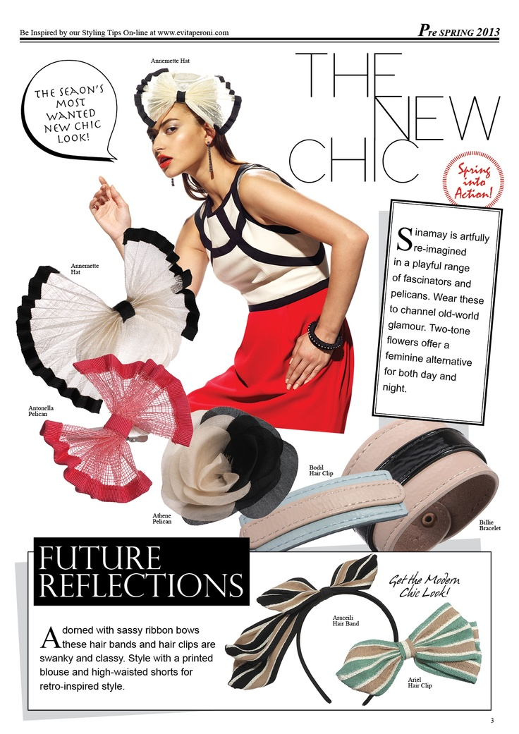 Spring into Action! The Season's most wanted new chic look!    Sinamay is artfully re-imagined in a playful range of fascinators and pelicans. Wear these to channel old-world glamour. Two-tone flowers offer a feminine alternative for both day and night.    Shop new arrivals at http://www.evitaperoni.com/Collection/New-Arrivals