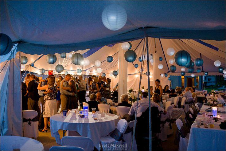 outdoor wedding under a white tent in michigan