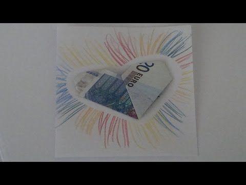Geldgeschenke ❁ Geld falten zum Herz für eine Karte ❁ Deko Ideen mit Flora-Shop - YouTube
