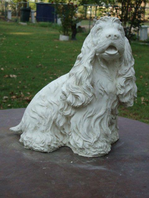 WHITE CONCRETE/CEMENT COCKER SPANIEL DOG GARDEN STATUE Or MEMORIAL