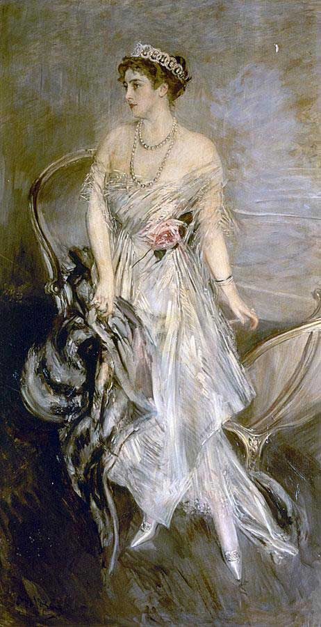 Princess Anastasia of Greece and Denmark, the former Nancy Leeds, by Giovanni Boldini [A rather flattering portrait after you see photographs of her. The Prince was her third husband.]