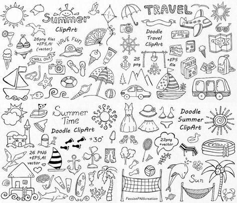 GROTE SET van Doodle zomer cliparts, Hand getekende vakantie clipart, digitale illustraties, png, eps, ai, vector clipart, persoonlijk en commercieel gebruik