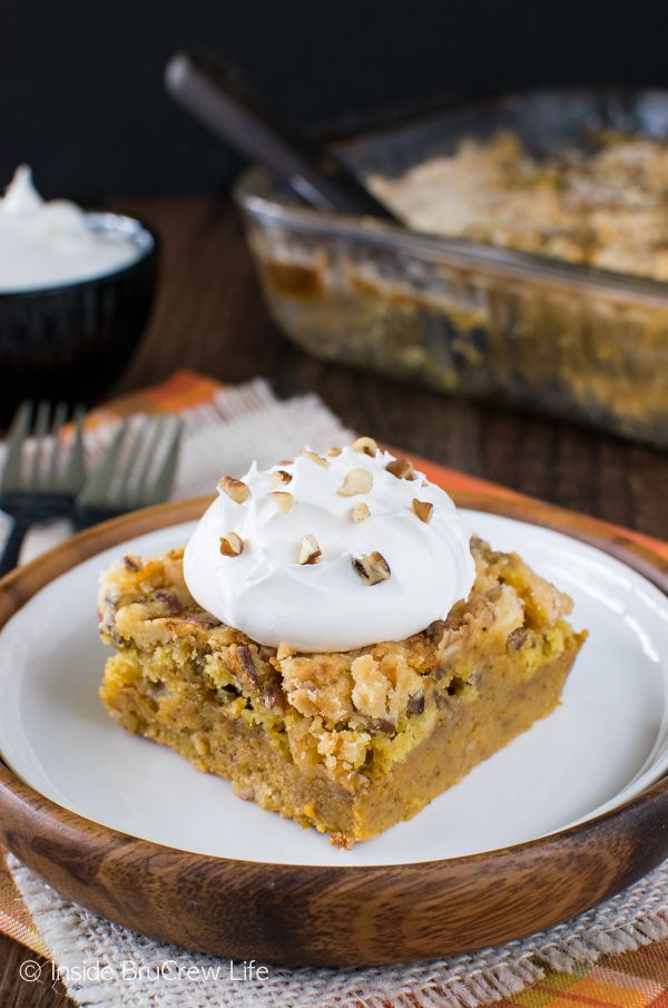 Easy Pumpkin Crunch Cobbler - a crunchy topping and creamy pumpkin pie filling…delicious served hot or cold!!