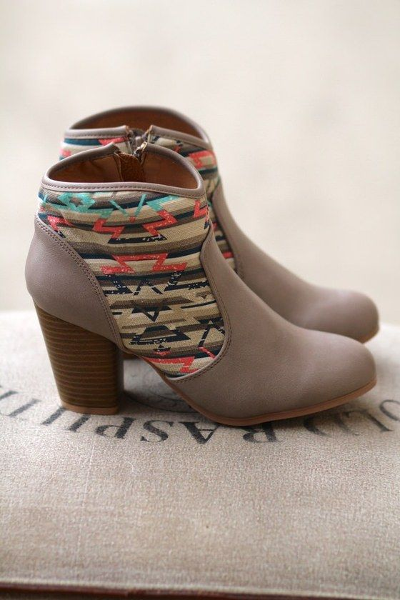 Aztec'n Around In my Booties (Taupe)