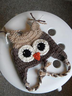 Free Crochet Owl Earflap Hat Pattern